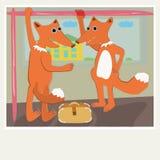 De vossen berijden de bus stock foto