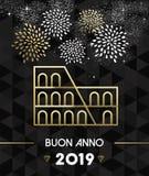 Or 2019 de voyage de colosseum de Rome de nouvelle année illustration de vecteur