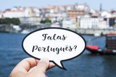 De vraag u spreekt het Portugees? in het Portugees stock afbeelding