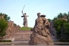 De vraag van het Vaderland! monument in Volgograd, Rusland Stock Foto's