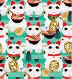 De vraag van Manekineko eet het naadloze patroon van Ramen Royalty-vrije Stock Foto