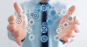 De vraagtekens van de zakenmanholding passen het 3D teruggeven aan Stock Afbeelding