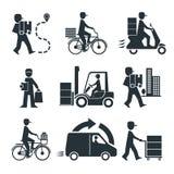 De vracht de logistische commerciële van de leveringspersoon industrie stock illustratie