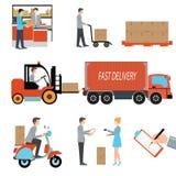 De vracht de logistische commerciële van de leveringspersoon industrie vector illustratie