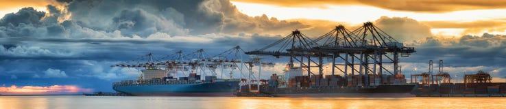 De vrachtschip van de containerlading met werkende brug i van de kraanlading Stock Afbeelding