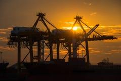 De vrachtschip van de containerlading met werkende kraanbrug in scheepswerf bij schemer voor Logistische Invoer-uitvoer royalty-vrije stock foto's