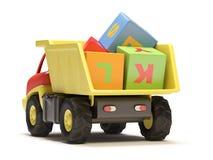 De vrachtwagen en de kubussen van het stuk speelgoed Royalty-vrije Stock Foto