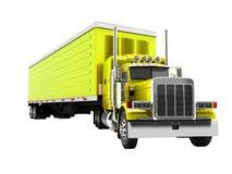 De vrachtwagen geel met gele 3d aanhangwagen geeft op witte achtergrond n terug vector illustratie