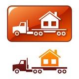 De vrachtwagen levert het huis. Vector pictogram Stock Afbeeldingen