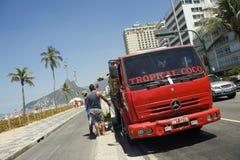 De Vrachtwagen Rio Brazil van de kokosnotenlevering Royalty-vrije Stock Afbeelding
