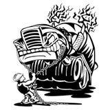 De vrachtwagen van de cementmixer met de vectorillustratie van het bestuurdersbeeldverhaal Royalty-vrije Stock Afbeeldingen