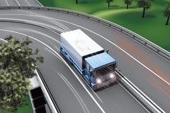 De vrachtwagen van de de autosnelwegverbinding van de weg Stock Foto's