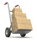 De vrachtwagen van de hand met drie postpakketten Stock Afbeeldingen