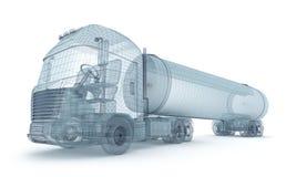De vrachtwagen van de olie met ladingscontainer, draadmodel Royalty-vrije Stock Foto's