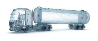 De vrachtwagen van de olie met ladingscontainer, draadmodel Royalty-vrije Stock Fotografie
