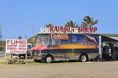 De vrachtwagen van garnalen op Oahu stock afbeeldingen