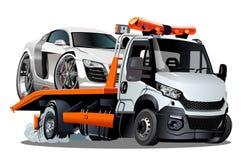 De vrachtwagen van het beeldverhaalslepen op witte achtergrond wordt geïsoleerd die stock illustratie