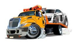 De vrachtwagen van het beeldverhaalslepen op witte achtergrond wordt geïsoleerd die royalty-vrije illustratie