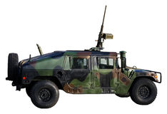 De vrachtwagen van het leger die op wit wordt geïsoleerdn Stock Foto