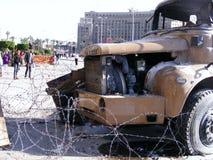 De vrachtwagen van het leger in tahrir vierkante Egyptische revolutie Royalty-vrije Stock Foto