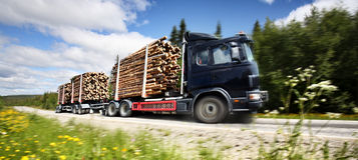 De vrachtwagen van het logboek stock fotografie