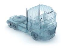De vrachtwagen van het netwerk die op wit wordt geïsoleerdo Royalty-vrije Stock Afbeeldingen