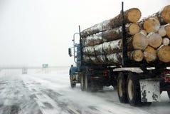 De vrachtwagen van het registreren op ijzige weg royalty-vrije stock foto