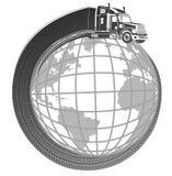 De vrachtwagen van het symboolembleem rond de aarde Stock Foto