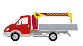 De vrachtwagen van Lkw met kraanmanipulatie Stock Afbeelding