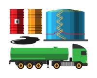 De vrachtwagen vectorillustratie van de olieextractie Stock Fotografie