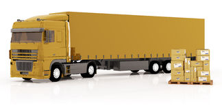 De vrachtwagen vervoerden pakketten Stock Afbeelding