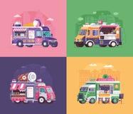 De Vrachtwagens en de Bestelwagens van het straatvoedsel Stock Afbeeldingen