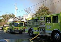 De Vrachtwagens van de brand Stock Fotografie