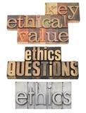 De vragen van de ethiek en zeer belangrijke waarden stock foto's