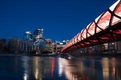 De Vredesbrug en horizon van Calgary bij nacht Stock Foto's