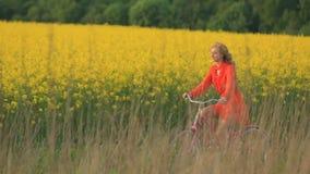 De vreedzame aantrekkelijke blondedame in rode kleding gelukkig berijdt de fiets langs het bloeiende die gebied met geel wordt be stock video
