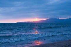 Zonsondergang, vreedzame oceaankust, Mexico, baai Banderas Royalty-vrije Stock Afbeeldingen
