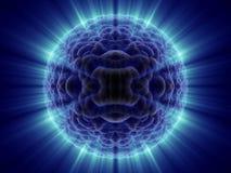 De vreemde fantasie onbekende micro- cel met blauw glanst Royalty-vrije Stock Foto's
