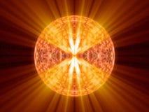De vreemde fantasie onbekende zon met hete sinaasappel glanst Stock Illustratie