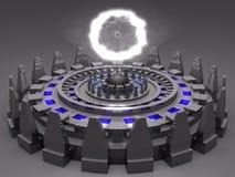 De vreemde onbekende futuristische machine van de fantasie in grijs c Stock Illustratie