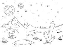 De vreemde vector van de de schetsillustratie van het planeet grafische zwarte witte ruimtelandschap royalty-vrije illustratie