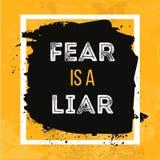 De vrees is een Leugenaar Motieven Vectoraffiche Inspirational citaat voor dekking, banner, druk of uw kunstwerken royalty-vrije illustratie