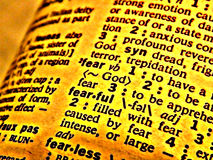 De vrees van het woordenboek Stock Foto