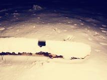 De vrees van de de winternacht Griezelige nacht in sneeuwbos royalty-vrije stock foto