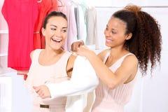 De vreugde om te kopen, vrouwen het winkelen Stock Afbeelding