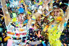 De vreugde van confettien Stock Foto's