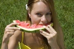 De vreugde van de watermeloen Stock Foto