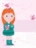 De Vriend van het Meisje van de vogel Royalty-vrije Stock Afbeelding