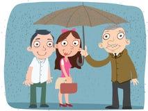 De vriendelijkheidsmens deelt zijn paraplu Royalty-vrije Stock Afbeelding