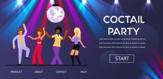 De vrienden dansen bij de Nachtclub van de Cocktail Retro Partij vector illustratie